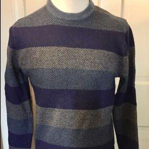 Gap Mens Crew Neck Herringbone Stripe Sweater S